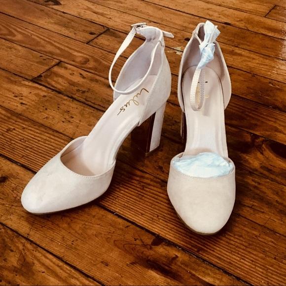 d1d08b85f5c Lulu s Shoes - Lulu s Laura Nude Suede Ankle Strap Heels